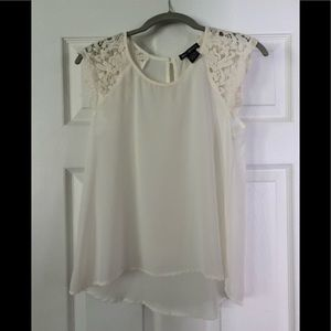 Chiffon Blouse with Lace Cap Sleeves